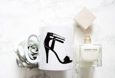 Mademoiselle 24 haut talon Mug, concepteur du talon mug, tasse de dames élégantes, mug noir et blanc
