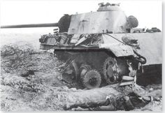 Broken German medium tank Pz.kpfw V Panther. 1945