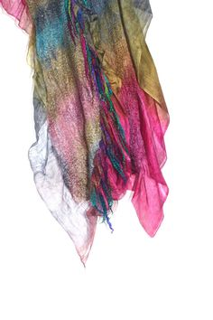 Multicolor Nuno Felted Scarf Long Textured by FeltedPleasure
