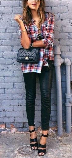 Waiting for the girls for Saturday morning brunch very chic weekend wear plaid, leather