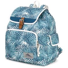 High Sierra Elly Backpack - Palms/Lagoon/White - School Backpacks ($29) ❤ liked on Polyvore featuring bags, backpacks, blue, blue bag, daypack bag, flap bag, rucksack bags and padded backpack