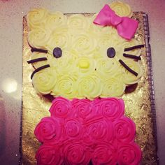 This is my favourite. I put together 37 cupcakes to create this cute hello Kitty cake. Buttercream Recipe: 1 cup butter at room tempe...