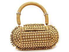Designer Bridal #Purse highlighted with glittering diamantes. Item Code: SJBP2019B http://www.bharatplaza.com/new-arrivals/accessories.html
