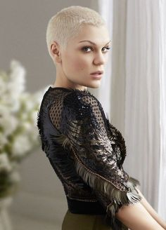 Shaved hair British singer Jessie J is photographed by David Roemer and styled by Jayne Pickering for Marie Claire UK September with hair by Alisha Dobson, makeup by Karin Darnell, manicure by Kim Treacy and set design by Matthew Duguid. Jessie J, Short Pixie, Short Hair Cuts, Short Hair Styles, Natural Hair Styles, Pixie Hairstyles, Pixie Haircut, Girls Shaved Hairstyles, Bald Hairstyles For Women