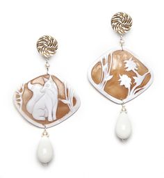 Fox Cameo earrings with passementerie, bone pendants and pearls. www.annaealex.com