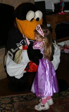 Pens princess gives Iceburgh a nice big hug!