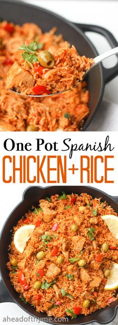 One Pot Spanish Chicken and Rice Packed with flavour real ingredients and vibrant colours one pot Spanish chicken and rice is the perfect no fuss no clean up weeknight meal via aheadofthyme Mexican Food Recipes, Dinner Recipes, Ethnic Recipes, Spanish Food Recipes, Spanish Desserts, Spanish Appetizers, Krups Prep Cook, Comida Boricua, Spanish Chicken