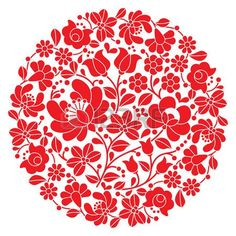 Hungarian Embroidery Patterns Kalocsai folk art embroidery - red Hungarian round floral folk pattern - - Millions of Creative Stock Photos, Vectors, Videos and Music Files For Your Inspiration and Projects. Hungarian Embroidery, Folk Embroidery, Learn Embroidery, Embroidery For Beginners, Embroidery Techniques, Chain Stitch Embroidery, Embroidery Stitches, Bordado Popular, Embroidery Designs