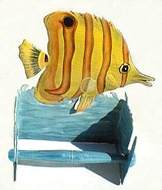Hand Painted Metal Toilet Paper Holder Yellow Tropical Fish Design See Much More At Tropical Bathroom Decortropical Decortropical