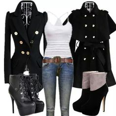 Just to push that all black barrier, I'd go with black jeans and a black tank top too....with the coat on the left. Perfection.