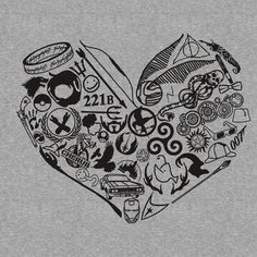 A Fangirl heart -- i think i need this Fandoms Unite, Hunger Games, Geeks, Percy Jackson, Fandom Tattoos, Nerdy Tattoos, Fangirl, Fandom Crossover, Geek Out