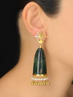 Pair of Green-White Aventurine-Pearl Silver Earrings Gold Jhumka Earrings, Silver Earrings Online, Indian Jewelry Earrings, Silver Jewellery Indian, Silver Hoop Earrings, Silver Necklaces, Silver Jewelry, Silver Rings, Diamond Jewellery