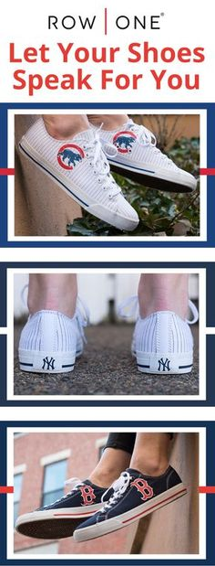 Row One offers a unique line of footwear that allows fans to show their loyalty to their favorite teams and schools.   https://www.rowonebrands.com/pages/major-league-baseball?utm_source=Pinterest&utm_medium=15.1P