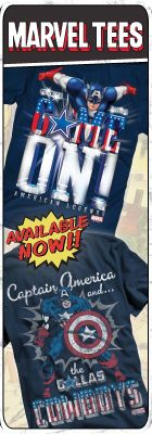 Dallas Cowboys Marvel Tees.  If Captain America is on our side, I guess we still are America's Team.