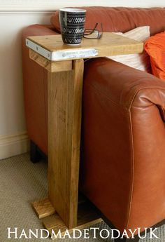 Handmade Rustic Industrial Sofa Side Table Recycled Reclaimed Scaffold Board