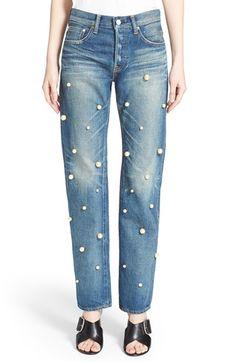 Tu es mon TRÉSOR Faux Pearl Embellished Jeans available at #Nordstrom