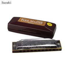 Silver Suzuki 10 Holes Harmonica Folk Master Mouth Organ C Key Diatonic Blues With Nice box Instrumentos musicais gaita gift