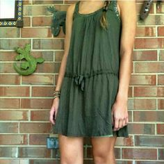 Free People Tunic Free People olive tank dress or can tighten to make tunic top  - NWOT - Model pic pulled from Posh for reference - Tag cut to prevent returns Free People Tops Tunics