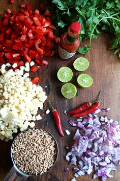 ingredients for summer farro salad