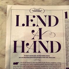 Lend a Hand.like the lettering Typography Love, Typography Inspiration, Typography Letters, Graphic Design Typography, Graphic Design Inspiration, Branding Design, Monospace, Type Treatments, Types Of Lettering