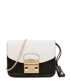 Furla Black & White Metropolis Mini Crossbody
