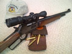 This is how I wanna make mine when I get back Marlin Lever Action, Lever Action Rifles, Western Holsters, Action Pictures, Cool Guns, Awesome Guns, Hunting Rifles, Airsoft Guns, Guns And Ammo