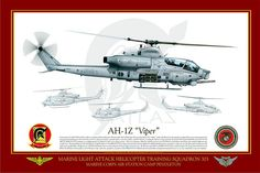 """AH-1Z_HMLAT-303    MARINE LIGHT ATTACK HELICOPTER TRAINING SQUADRON 303 (HMLA/T-303) """"ATLAS""""  MARINE CORPS AIR STATION CAMP PENDLETON    Activated on 30 April 1982 with four officers and three enlisted Marines, Marine Light Attack Helicopter Training Squadron 303, """"Atlas"""", is the only Marine Corps squadron assigned the mission of training newly designated Naval Aviators destined to become H-1 replacement pilots, refresher pilots, conversion pilots, and H-1 Aircrew. Attack Helicopter, Military Helicopter, Military Aircraft, Naval Aviator, Police Truck, Army National Guard, Military Weapons, Nose Art, Aviation Art"""