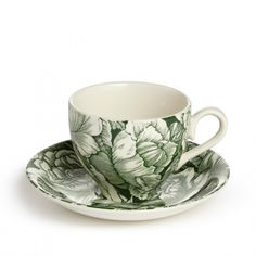 SHOP | Burleigh Hibiscus Teacup and Saucer. Hibiscus is a classic print from the Burleigh archives and this green version, as seen in The Ned, is exclusive to Soho Home. Earthenware teacup and saucer made by British pottery brand Burleigh. Green floral print is our exclusive version of Burleigh's classic 'Hibiscus' design. Used in the restaurants and bedrooms at The Ned | Kitchen