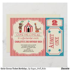 Girls Circus Ticket Birthday Party Invitation Girl 2nd Birthday, Birthday Bash, Circus Birthday Invitations, Circus Tickets, Colored Envelopes, Envelope Liners, Custom Invitations, Girls, Toddler Girls