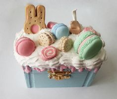 Kawaii Decoden Small Jewelry Box Blue Pastel Mini Container