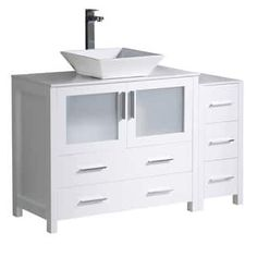 "Fresca Torino 48"" White Modern Bathroom Cabinets w/ Top & Vessel Sink"