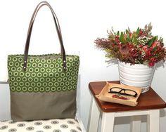 Khaki Cotton Tote Bag with Green Cotton Print