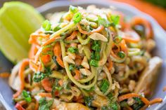 Healthy Thai Peanut Chicken Zucchini Noodles with a fresh peanut lime sauce mixed with veggie noodles makes a perfect light meal and lunch the next day!