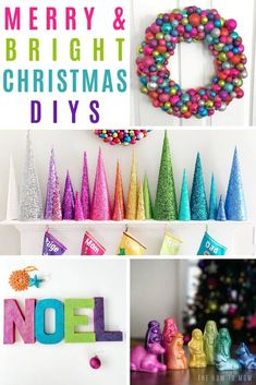Take the Christmas cheer up a notch with colorful DIY Christmas decorations. Whimsical rainbow crafts and fun colors are truly merry & bright! Rainbow Christmas Tree, Cone Christmas Trees, Candy Christmas Decorations, Christmas Colors, Christmas Themes, Christmas Holidays, Christmas Wreaths, Whimsical Christmas Trees, Merry Christmas