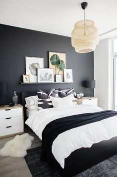 See how a dramatic black wall can instantly transform a basic condo bedroom. See how a dramatic black wall can instantly transform a basic condo bedroom. Condo Bedroom, Master Bedroom Interior, Home Decor Bedroom, White Bedroom Decor, White Bedrooms, Budget Bedroom, Decor Room, Room Decorations, Small Girls Bedrooms
