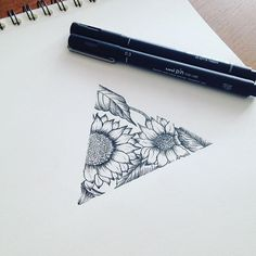 Sunflowers #tattoodesign #flowers #flowertattoo #sunflowers #triangle #triangletattoo