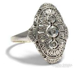 1930 Golden Ring Art Deco ezüst és gyémánt 14k akcio