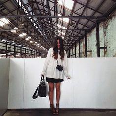 Thrifted Knit, Mum's Jumpsuit, Similar: Spurr Heels, Zara Bag