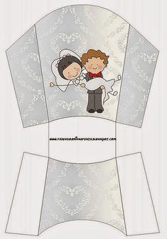 Sweet Wedding Toon Couple Free Printable Boxes.