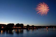 Fireworks over the Missouri River                      Summer Celebration                                          Fort Benton, Montana