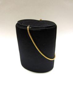 Black Barrel Purse Evening Clutch Formal Round by sweetie2sweetie, $16.99