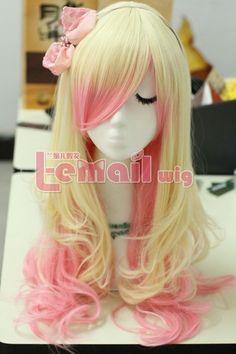 wigs+pink+hair | 63cm long zipper beige+pink wavy Cosplay hair wig RW157A