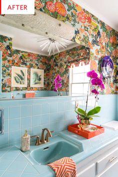 New Bathroom Interior Design Vintage Apartment Therapy Ideas Estilo Kitsch, Bathroom Before After, Vintage Apartment, Vintage Tile, Retro Tile, Retro Vintage, Vintage Bathrooms, Retro Bathroom Decor, Bathroom Wallpaper Retro
