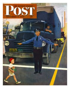 """""""Traffic Cop,"""" Saturday Evening Post Cover,  by George Hughes"""