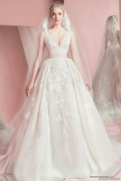 zuhair murad spring summer 2016 bridal v neck romantic white lace wedding ball gown dress with veil perina