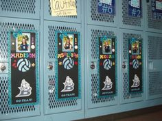 Volleyball locker posters with ribbon, glittered letters, and team logo. Before each game add some candy and cute cheering message.
