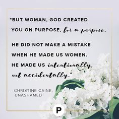 Woman, God created you on purpose, for a purpose. He did not make a mistake when he made us women. He made us intentionally, not accidentally. We were predestined, predetermined, and preordained to be who we are—divine creations (Genesis 1). God carefully and by design placed gifts and talents within us, and he has called us to activate and use them to bring him great glory during our time on this earth as we influence and lead others to him (John 15:8). We'll discuss womanhood and…