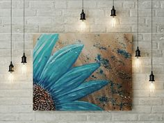 Customizable Abstract Flower teal wall decor by ChrissyVanlewgo