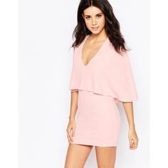 Oh My Love Mini Dress with Cape (175 BRL) ❤ liked on Polyvore featuring dresses, pink, pink mini dress, tall dresses, pink bodycon dress, plunging v neck dress and bodycon dress