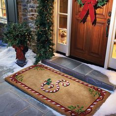 candy cane monogrammed door mat perfect for my house christmas doormat